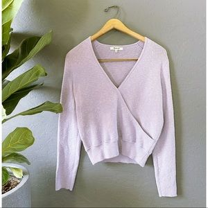 Madewell Wrap Front Sweater Lilac Purple Lavender